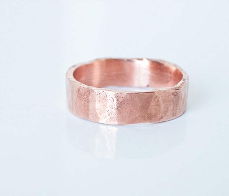 Copper Ring Womens or Mens Hammered Rustic His or Hers Wedding image 0