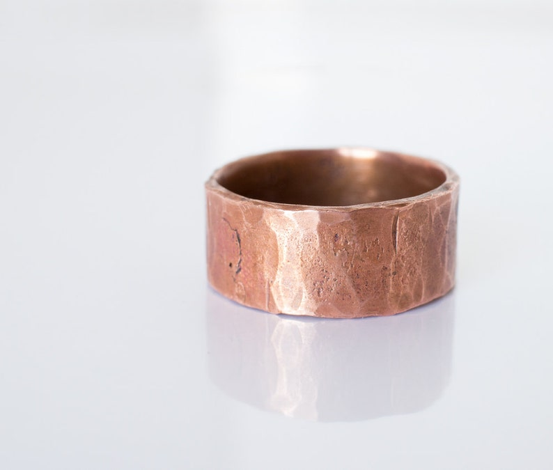 Ring Band Ring Forged Hammered Copper Rustic Wedding 7th image 0