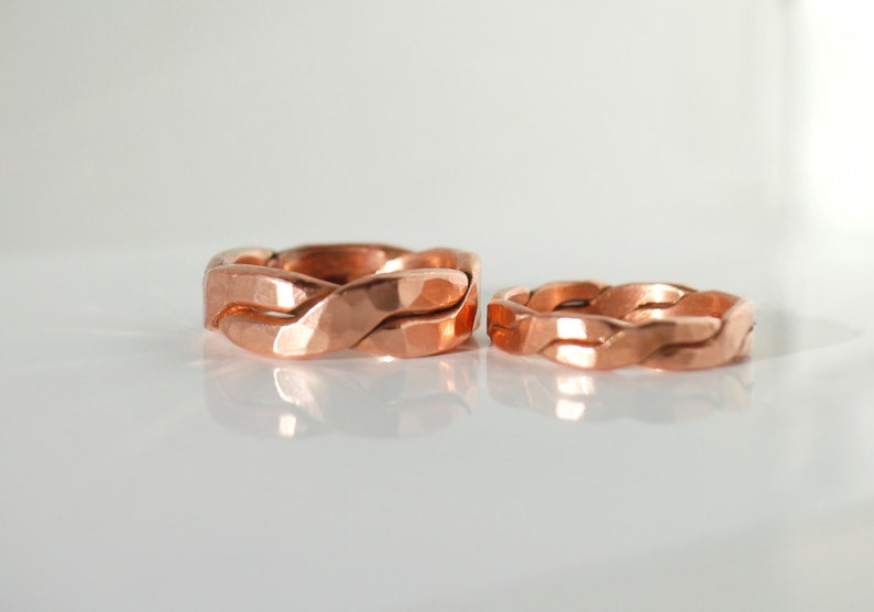 Wedding Set Forged Chunky Hammered Twisted Copper Rings Rustic image 0