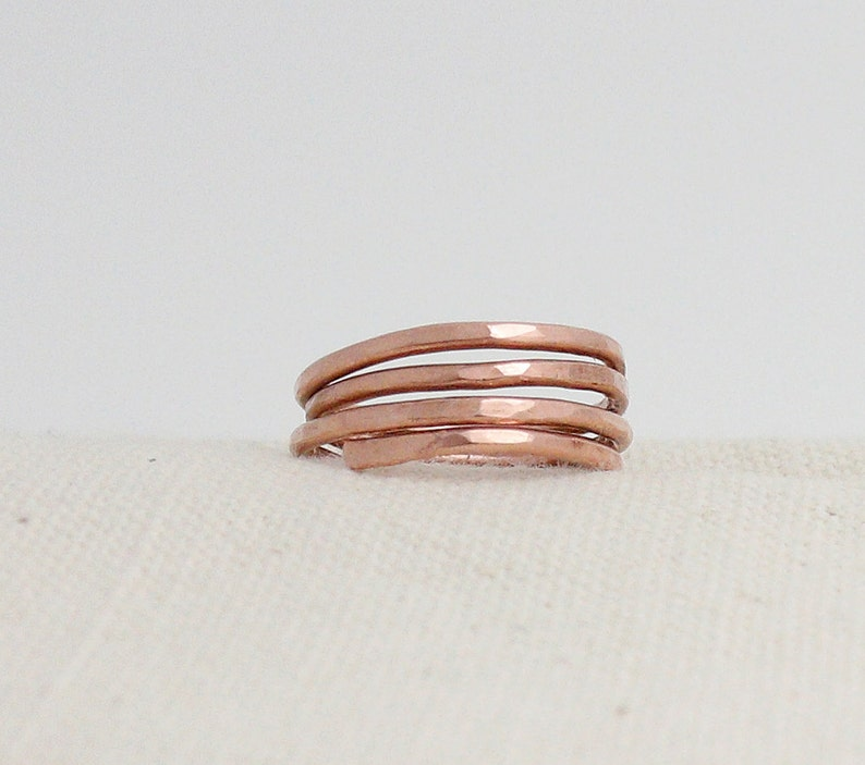 Ring Forged And Hammered Copper Wire Wrapped Rustic Minimalist image 0