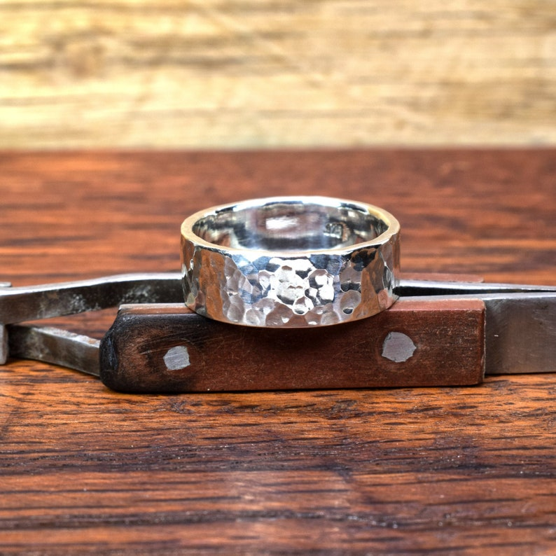 Heavy Sterling Silver Ring .925 Hammered Rustic Minimalist Men image 0