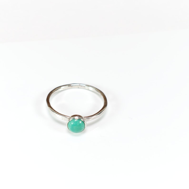 Turquoise and Silver Stacking Ring Hammered Silver Wire Rustic image 0