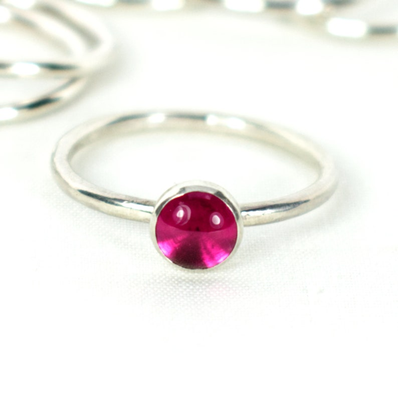 Ruby and Silver Stacking Ring Hammered Silver Wire Rustic image 0