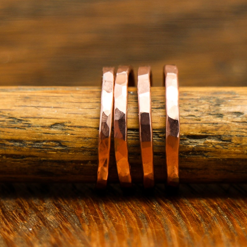 Band Ring Copper Wire Forged and Hammered Finish Stacking Ring image 0
