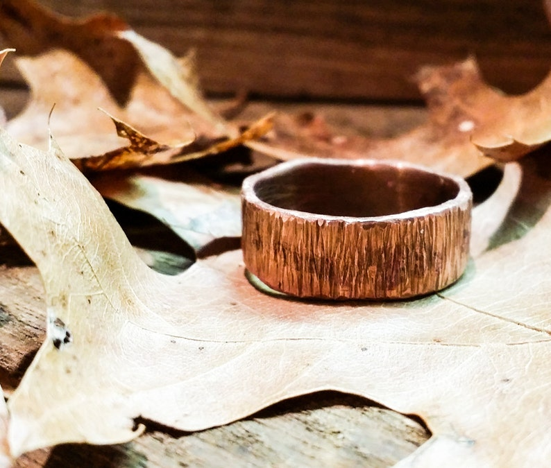 Copper Womens Ring Mens Ring Band Ring Hammered Rustic image 0