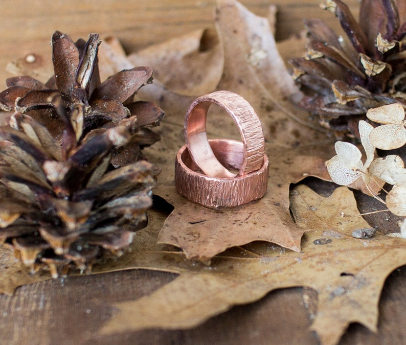 Rings Wedding Set Woodsy Look Hammered Copper Band Rings image 0