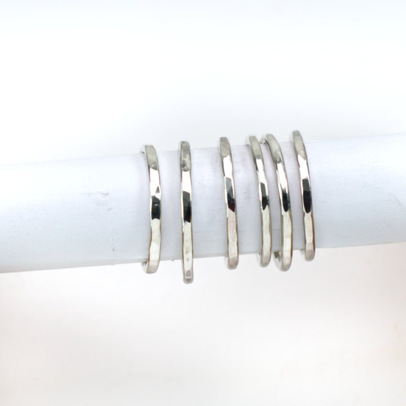 Stacking Ring Silver Wire Hammered Finish Minimalist Womens image 0