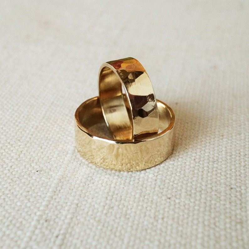 Rings Wedding Set Shiny Hammered Brass Band Rings Rustic His image 0