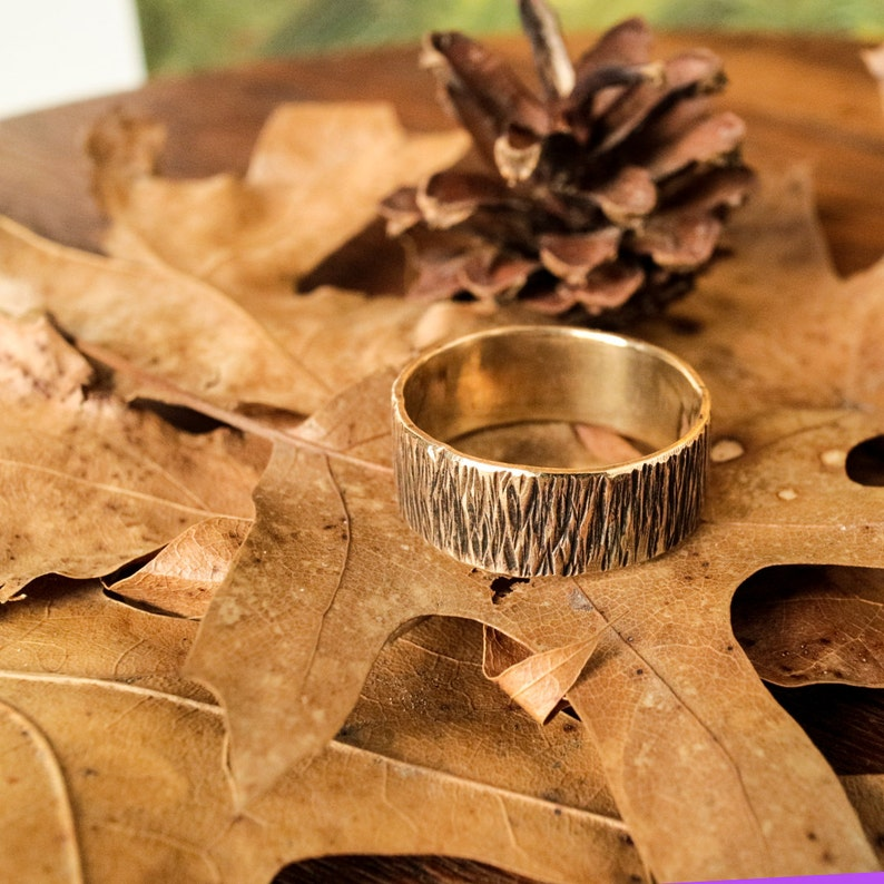 Brass Band Ring Hammered Rustic Minimalist Woodsy R100B image 0