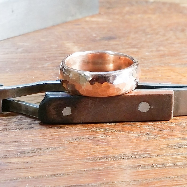 Solid Copper Ring Wide Thick Hammered Domed Profile Rustic image 0