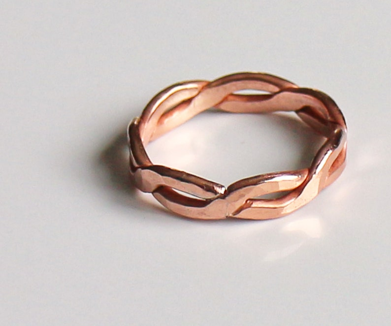 Ring Twisted Copper Wire ring Celtic Rope Forged and Hammered image 0