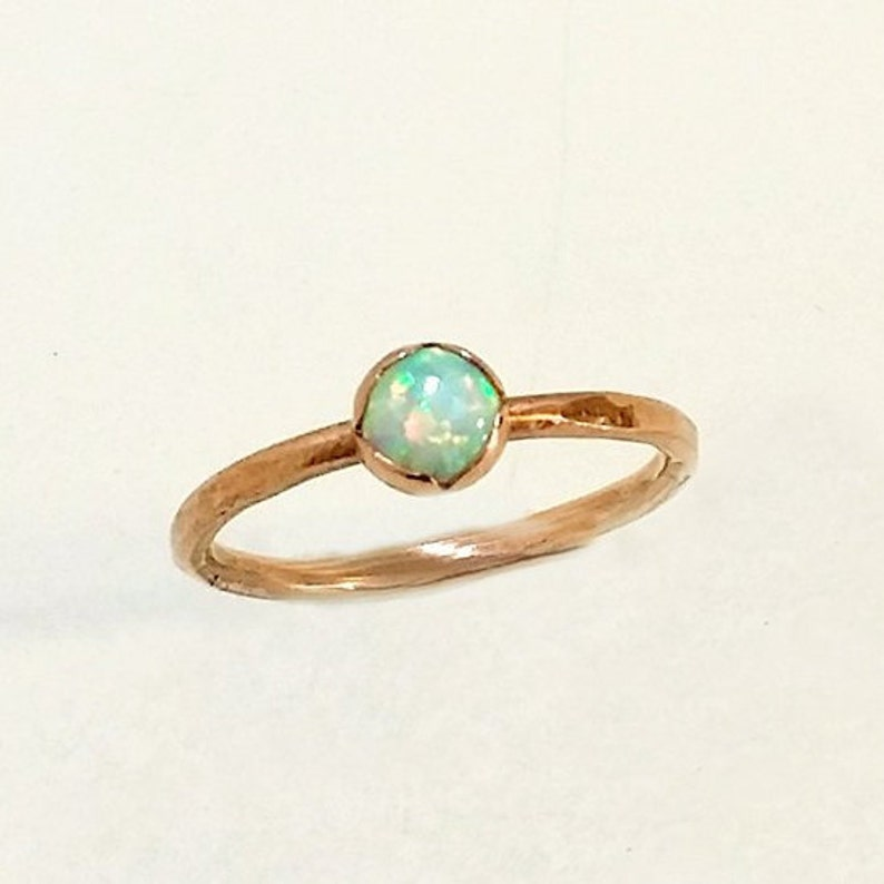 Opal and Copper Ring Forged And Hammered Copper Wire Rustic image 0