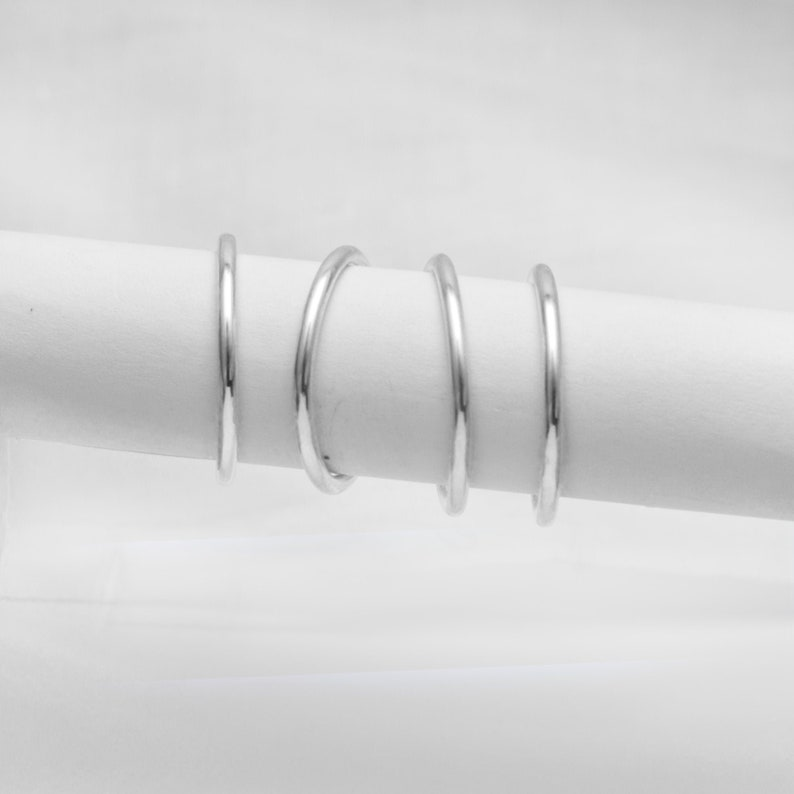 Stacking Ring Silver Wire Smooth Finish Minimalist Womens image 0