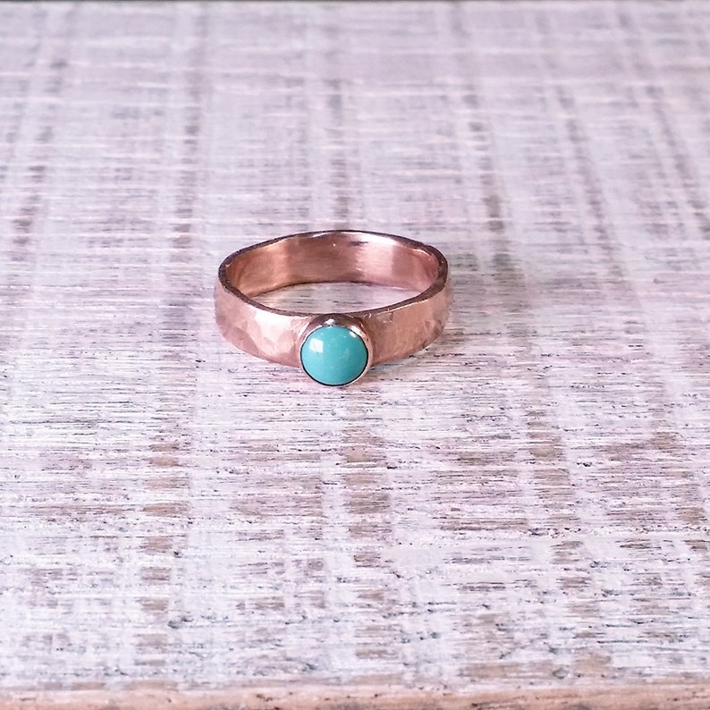 Copper Ring and Turquoise Copper Band Forged And Hammered With image 0