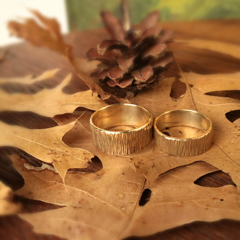 Rings Wedding Set Woodsy Look Hammered Brass Band Rings Rustic image 0
