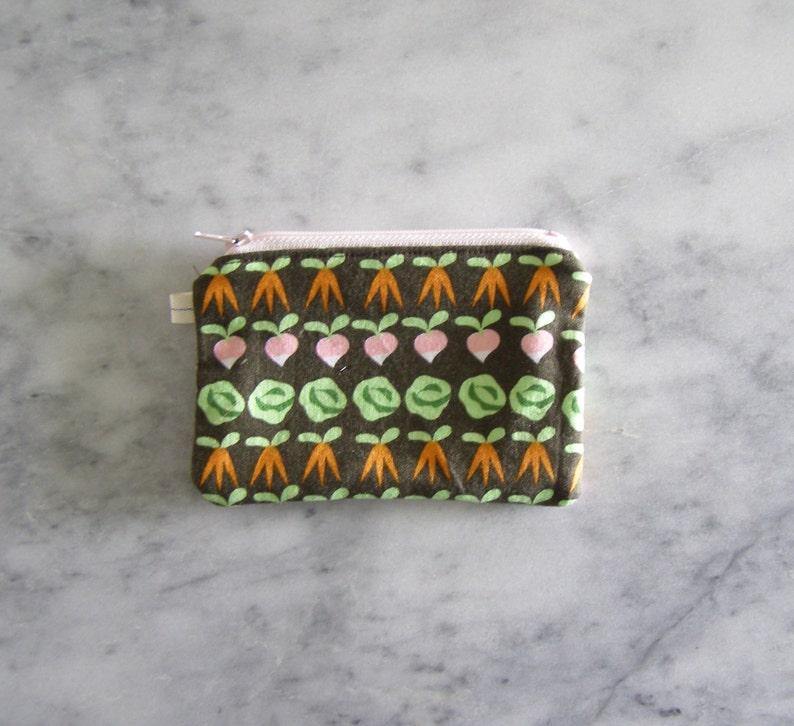 black zipper garden rows simple wallet back pocket size card size zippered bag coin purse