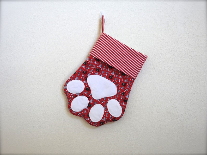 b037818f278 Cat stocking-christmas stocking-red striped fabric cuff