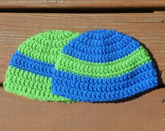 Striped Caps, Two Hats, Baby Beanies, Toddler Crochet, Baby Boy, Green Hat, Blue Cap, Toddler Boy, Boy Stuff, Two Hats, Matching Hats