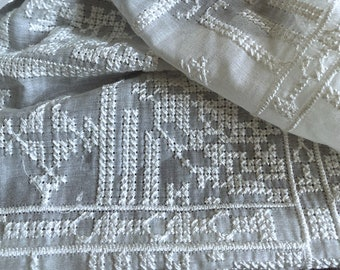 """Beautiful vintage cross-stitched embroidered off white Silk Cotton fabric, 53""""/135cm,beautiful fabric for dresses,skirt, shirts, by the yard"""