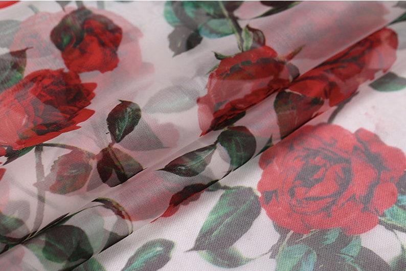 8c70e05b946e Silk Organza Fabric 53 6mm red roses print 100% Fine | Etsy