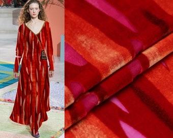 "Silk Velvet Fabric, silk rayon burnout, red lines, 45""/114cm, Fancy Fabric for  dresses, shawls,cheongsam by the yard"