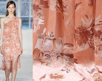 "Floral Silk Burnout Fabric, Silk Rayon Velvet, 114cm/45"", Fashion Fabric for Dresses, Shawls, Kimonos, by the yard"