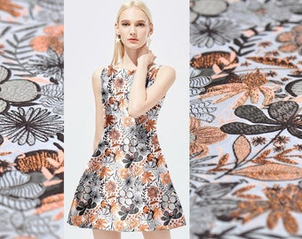 "Elegant Orange Gray Floral Jacquard Brocade Fabric, 59""/150cm 350g/m, Fashion Fabric for Dresses, Skirts, Shirts, Pants, by the yard"