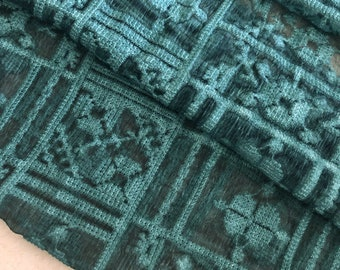 Beautiful cross-stitched embroidered, vintage turquoise crinkle silk georgette, fashion silk fabric Dresses, skirts, decor, by the yard