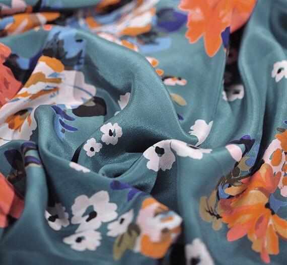 Crepe De Chine Seide Stoff Floral Digitaldruck Edle Seide Etsy