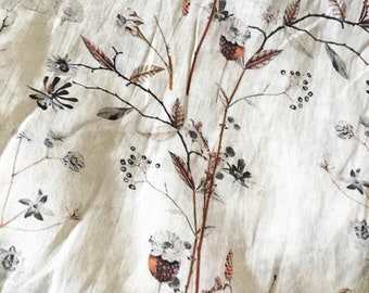 """Beautiful dry branches Digital Printed, 53""""/135cm 100% Ramie fabric, for  dresses, shirts. blouse, by the yard"""