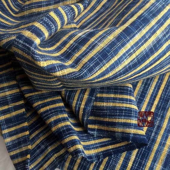 by the meter Hand woven /& Hand yarn dyed with Natural indigo dyes craft fabric for clothes blue yellow stripped hand made stuffs