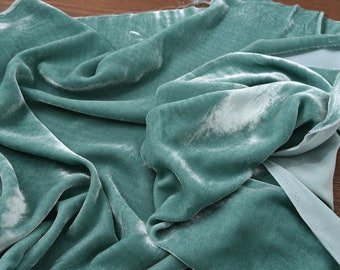 """0.5 meters green Silk Velvet fabric,  45""""/114cm Fancy Fabric  for evening dresses, shawls, scarves, shirts, suits"""