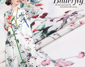 """Silk Linen Fabric, beautiful floral bird print 55"""" 16mm for spring dresses, skirts, shirts, by the yard"""