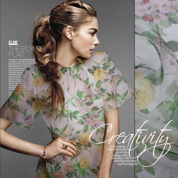 34a705ebbebf Organza Silk Fabric 55 6mm Roses Floral Printing 100% | Etsy