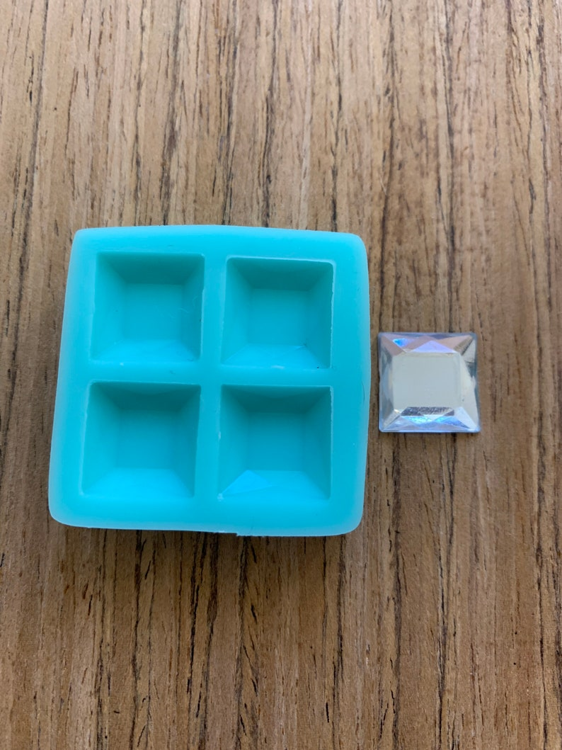 Flexible Silicone 14mm Square Gem Mold