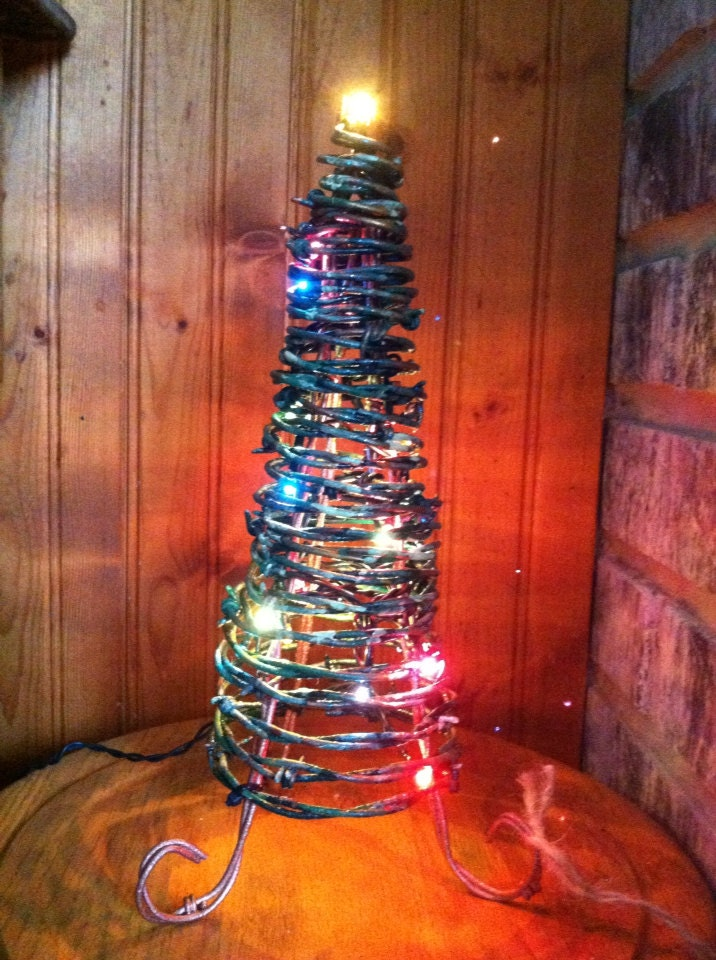 Barbed Wire Christmas Tree with lights | Etsy