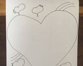 Printable Colouring In Page Scrapbooking Favourites Hearts Art Journal