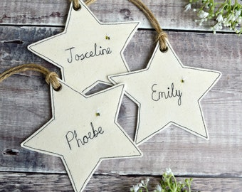 Personalised star decoration, personalised name tag, personalised hanging star, personalised gift, personalised christmas decoration