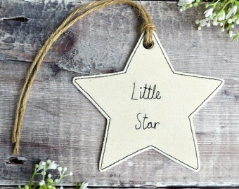 Little star decoration, embroidered star, little star ornament, star decoration, hanging little star, personalised little star, little star