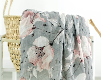 47X47 Gray Floral Bamboo Swaddle Blanket