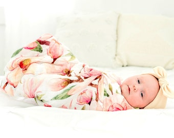 47X47 Magnolia Floral Bamboo Swaddle Blanket