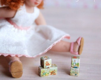 Set of 5 wooden toy cubes with  BP pictures