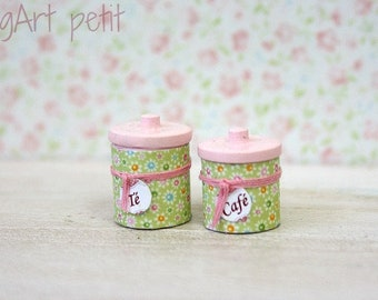 Flowered kitchen canisters  for dollhouse scale