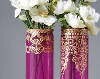 Bohemian Wedding Decor Bud Vase Set, Henna Wedding Centerpiece, Engagement Party Decorations