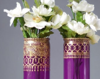 Mehndi Engagement Party Decorations, Boho Wedding Centerpiece, Bohemian Glass Vase