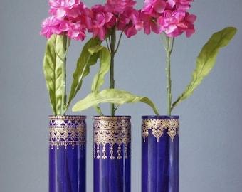 Boho Wedding Centerpiece, Henna Bud Vase Set, Engagement Party Decorations