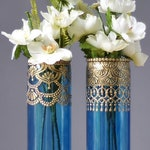 Henna Bud Vase Set, Moroccan Decor, Bohemian Glass Vase, Best Selling Items