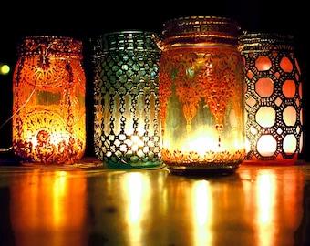 Hanging Lanterns, Boho Gift Set of Four, Henna Painted Mason Jar Lanterns, Moroccan Lanterns, Boho Jar Lanterns, Candle Lantern, Centerpiece