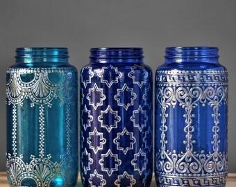Mason Jar Centerpieces Housewarming Gift for Mom Bohemian Bedroom Decor Birthday Gift Boho Decor Votive Candle Holder Moroccan Lamp