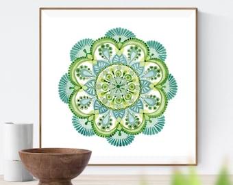 Sacred Geometry Art, Watercolor Mandala Artwork, Mindfulness Gift Mandala Wall Art